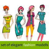 Illustrated elegant fashion models Stock Photography