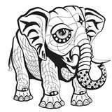 Illustrated elephant. An illustration of an ornate elephant in black and white Vector Illustration
