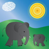 Illustrated elephants Royalty Free Stock Photos