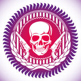 Illustrated emblem with skull. Modish emblem with illustrated skull Stock Images