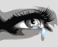 Illustrated eye with a tear Royalty Free Stock Photo
