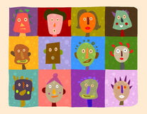 Illustrated faces Stock Photo