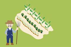 Farmer and Garden Plot illustration Royalty Free Stock Photo