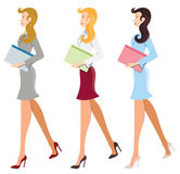 Illustrated female workers Royalty Free Stock Photos