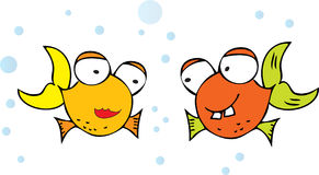 Illustrated fish characters. Two illustrated fish characters, one girl and one boy stock illustration