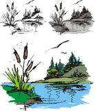 Illustrated fishpond Stock Images