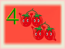 Illustrated flash card showing the number four, tomatoes. Stock Photo