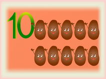 Illustrated flash card showing the number ten, potatoes. Stock Photos