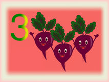 Illustrated flash card showing the number three, beet. Stock Images