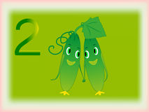 Illustrated flash card showing the number two, cucumbers. Royalty Free Stock Photos