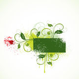 Illustrated floral design. Illustration of green swirls, holly leaves and a red flower Royalty Free Stock Images