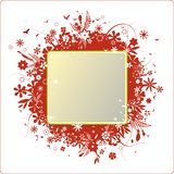 Illustrated floral frame. Abstract illustrated frame with a green border and red retro floral surrounding design.  Isolated on a white background with red border Royalty Free Stock Photography