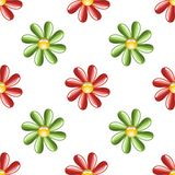 Illustrated flower background. An illustration of red and green stylized flowers on a white background Stock Images