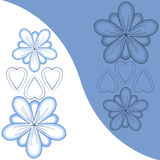Illustrated flowers and hearts. In blue/white Royalty Free Stock Images