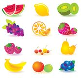 Illustrated fruit. A set or collection of colorful, illustrated fruit royalty free illustration