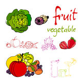 Illustrated fruit and vegetable icons Royalty Free Stock Photo