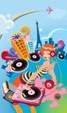 Illustrated Girl Disk Jockey