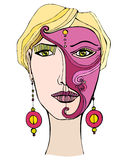Illustrated girl with mask Royalty Free Stock Image