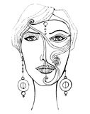 Illustrated girl with mask Royalty Free Stock Photo