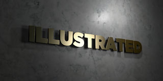 Illustrated - Gold text on black background - 3D rendered royalty free stock picture Stock Photo