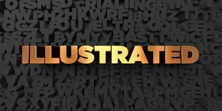 Illustrated - Gold text on black background - 3D rendered royalty free stock picture Royalty Free Stock Image