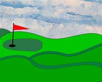 Illustrated golfgreen. Illustrated golf green and fairway with handpainted sky Stock Images
