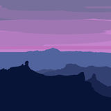 Illustrated Gran Canaria - sunset from Pico de Las Nieves Stock Image