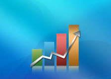 Illustrated graph. Illustrated glossy graph pointing up Royalty Free Stock Photos
