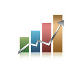 Illustrated graph. Illustrated glossy graph pointing up Royalty Free Stock Images