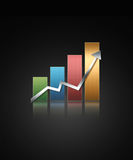 Illustrated graph. Illustrated glossy graph pointing up Stock Photography