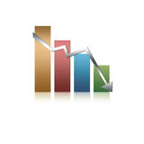 Illustrated graph. Illustrated glossy graph pointing down Royalty Free Stock Photography
