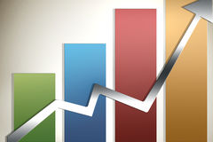 Illustrated graph. Illustrated glossy graph pointing up Royalty Free Stock Photo