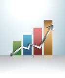 Illustrated graph. Illustrated glossy graph pointing up Stock Photo