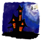 Illustrated halloween scary house in night with witch. Illustrated halloween scary house in dark night with full moon, flying witch on whist Stock Images