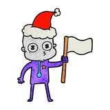 Hand drawn textured cartoon of a weird bald spaceman with flag wearing santa hat. Illustrated hand drawn textured cartoon of a weird bald spaceman with flag royalty free illustration