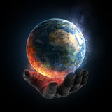 Illustrated hand holding a burning. An illustrated hand holding a burning Earth royalty free illustration
