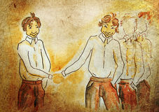 Illustrated handshaking boys Stock Photos