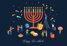 Free Illustrated Happy Hanukkah Jewish Festival Of Lights With Food, People And Menorah Royalty Free Stock Photos - 159428488