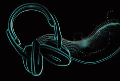 Illustrated headphones with sparkles. Headphone lineart, sparkles, blends and wavy lines are all on separate layers. sparkles and background shapes are created royalty free illustration