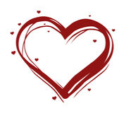 Illustrated heart. Red illustrated heart with many little hearts over white background stock illustration