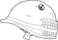Illustrated helmet. Illustration of a helmet worn into battle Stock Illustration