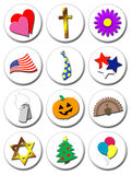 Illustrated holiday icons Royalty Free Stock Photos