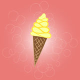 Illustrated Ice Cream Cone. On a light background Stock Photo
