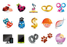 Illustrated icons. For webdesign themes vector illustration