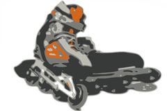 Illustrated inline skate Stock Photo