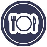 Knife fork and plate circular icon symbol. Illustrated knife fork and plate circular icon symbol vector illustration