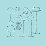 Illustrated lamps Royalty Free Stock Image