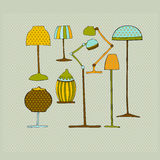 Illustrated lamps. On retro background Stock Photography