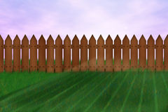 Illustrated landscape. Grass, sky and wooden fence stock illustration