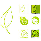 Illustrated leaf icons Royalty Free Stock Image